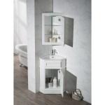 Stufurhome Hampton White 27 Inch Corner Bathroom Vanity With Medicine Stufurhome