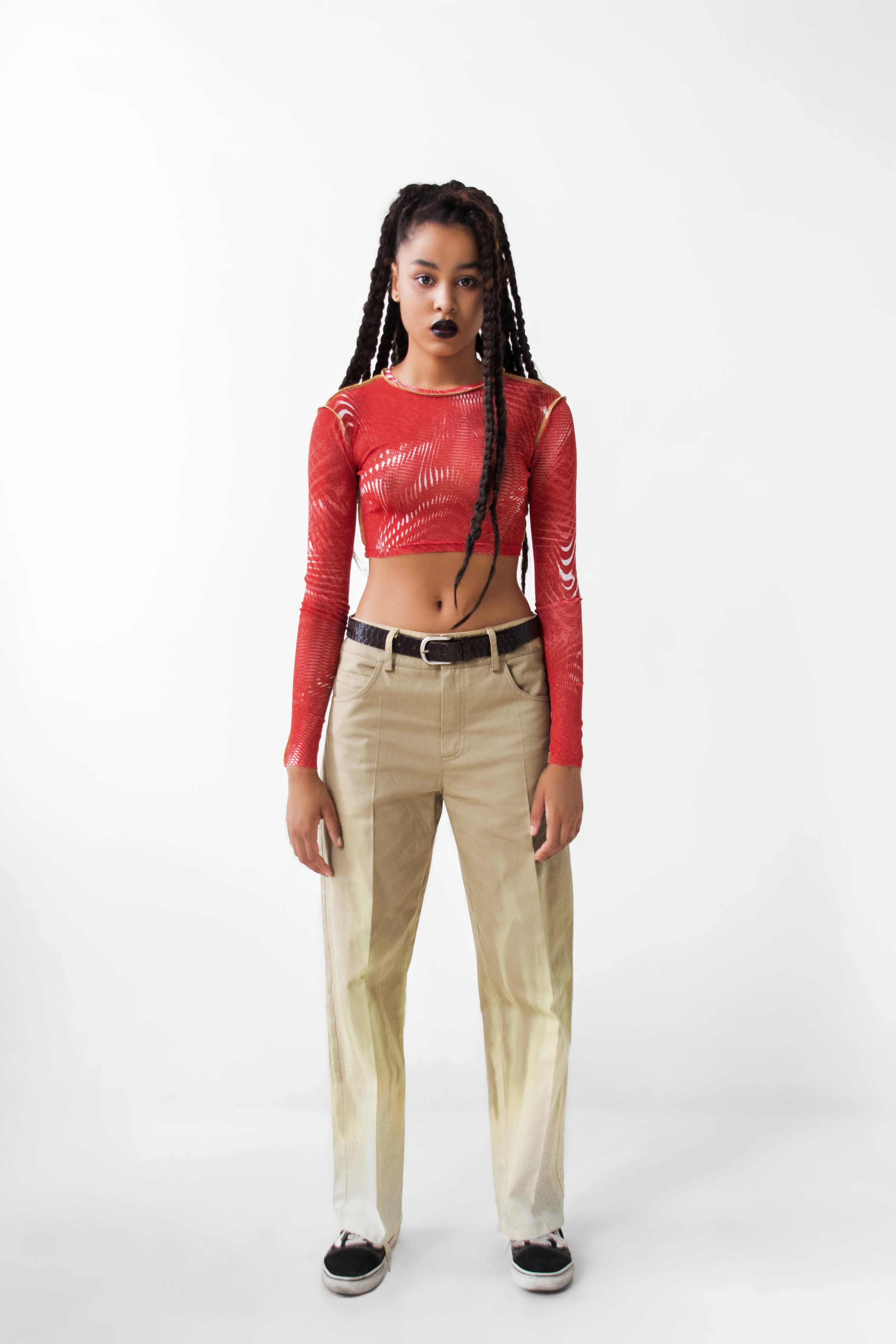 hight resolution of red cropped longsleeve