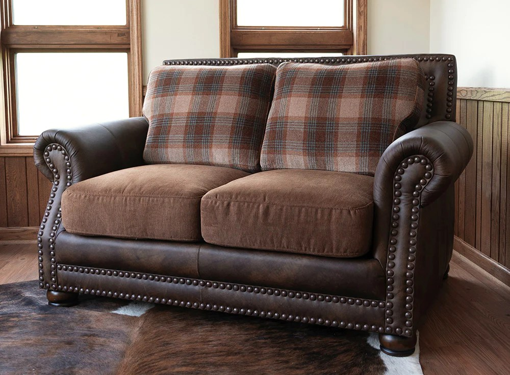 hamilton loveseat run wyld leather and fabric combo