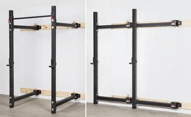 fold back wall mounted rig squat power rack