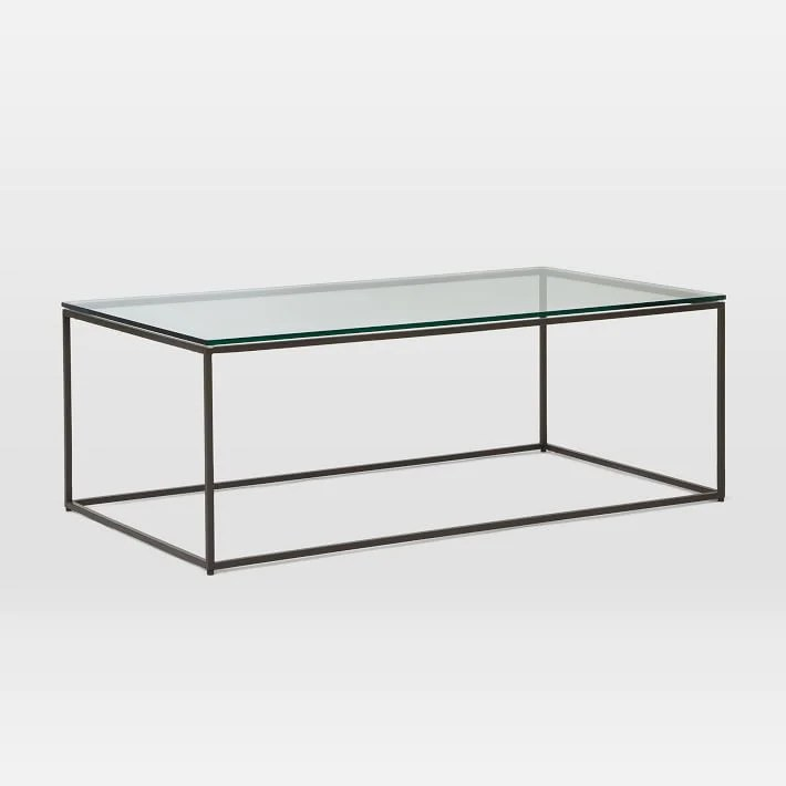 box frame coffee table glass antique bronze