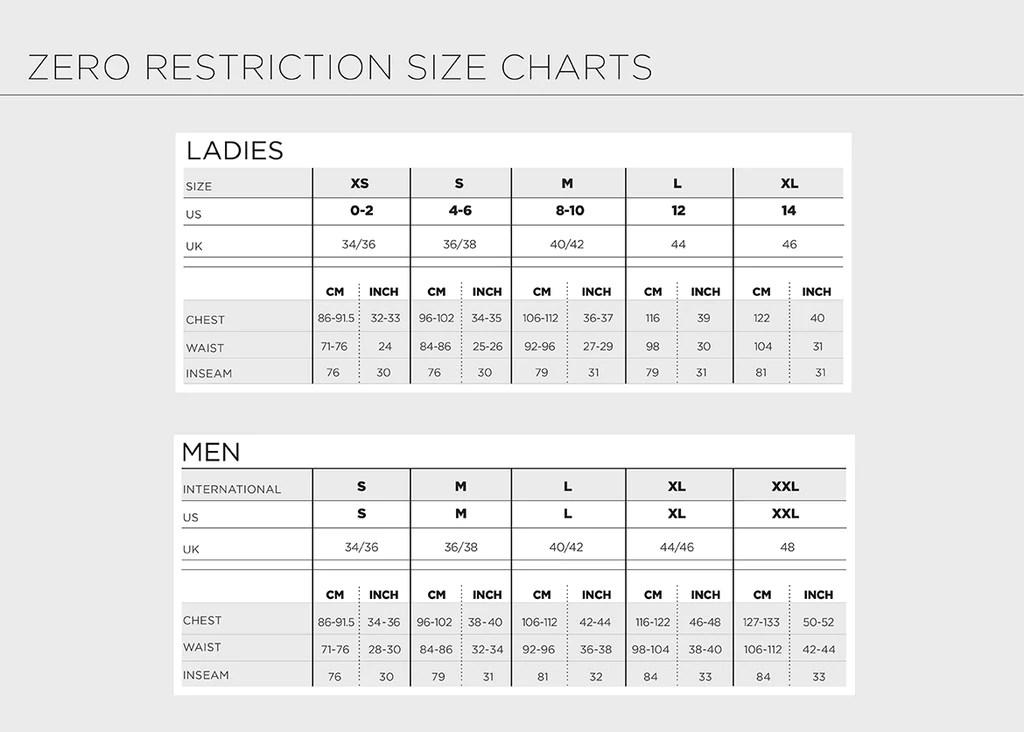 Size chart also  zero restriction rh zerorestriction
