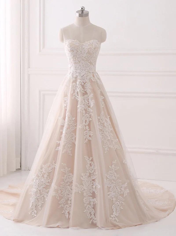Aline Wedding DressesLace Wedding DressElegant Bridal GownStraples  Wishingdress