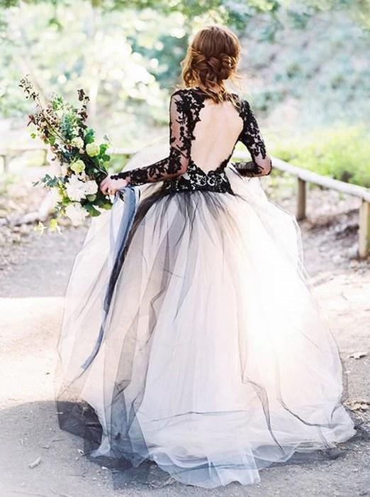 Black Wedding GownBall Gown Wedding DressesWedding Dress with Sleeve  Wishingdress