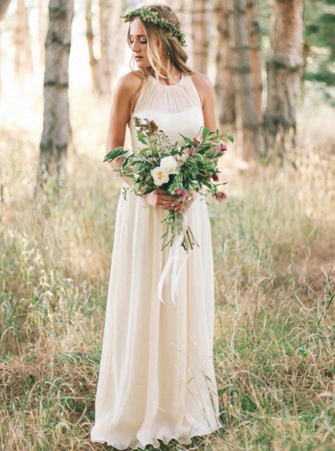 Ivory Wedding DressSimple Wedding DressLong Wedding