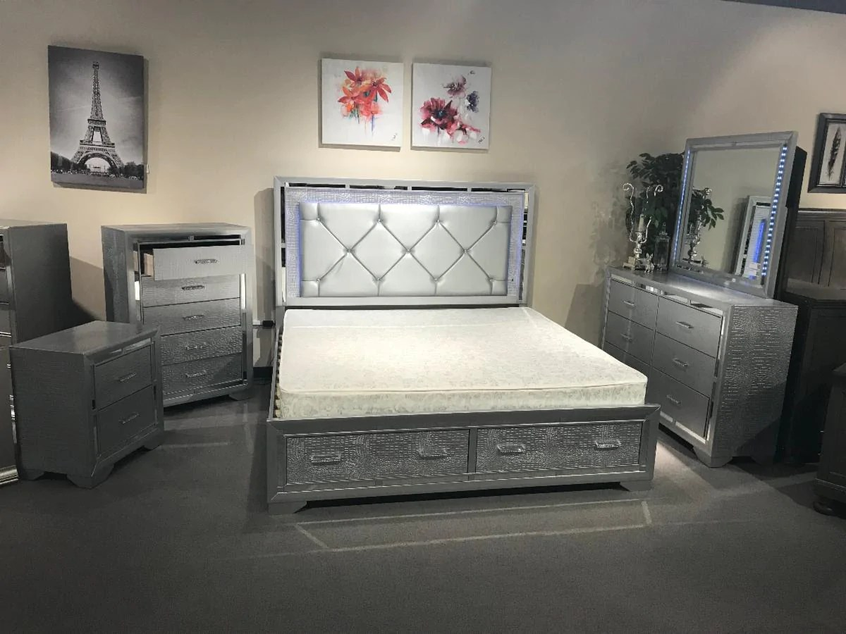 fair chaz b queen 5 pc silver led bedroom set with storage drawers