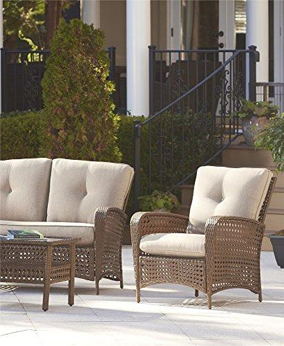 cosco outdoor living 4 piece lakewood ranch steel woven wicker patio furniture conversation set with cushions and coffee table amber wicker tan
