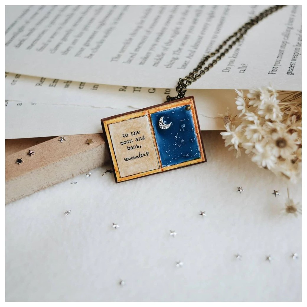 Moon Book Page Pendant