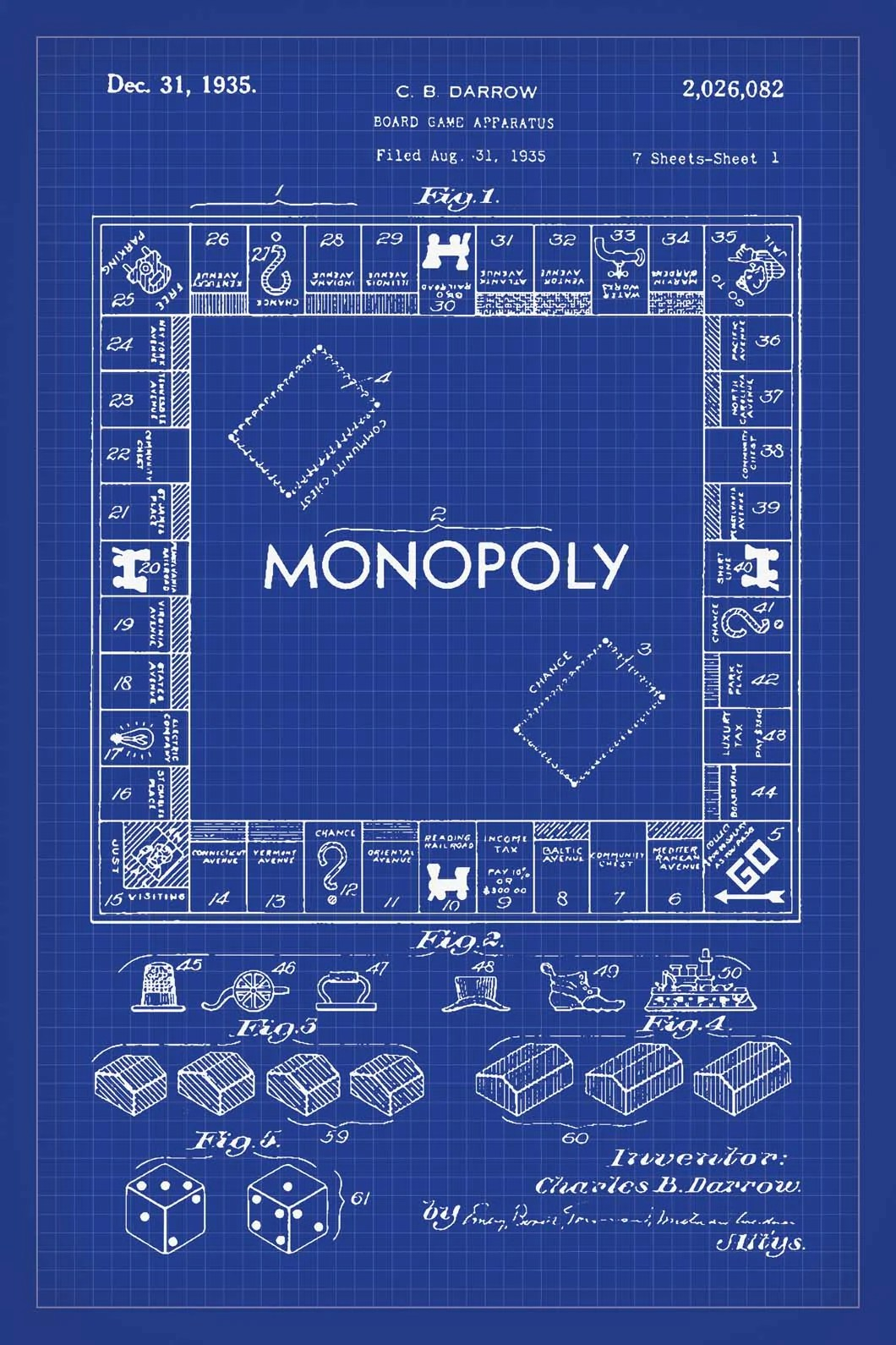 medium resolution of  monopoly board game patent print 16x24 inches blueprint art poster