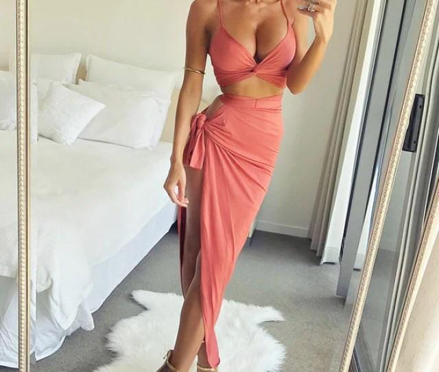 Women V Neck Crop Bodycon Dress