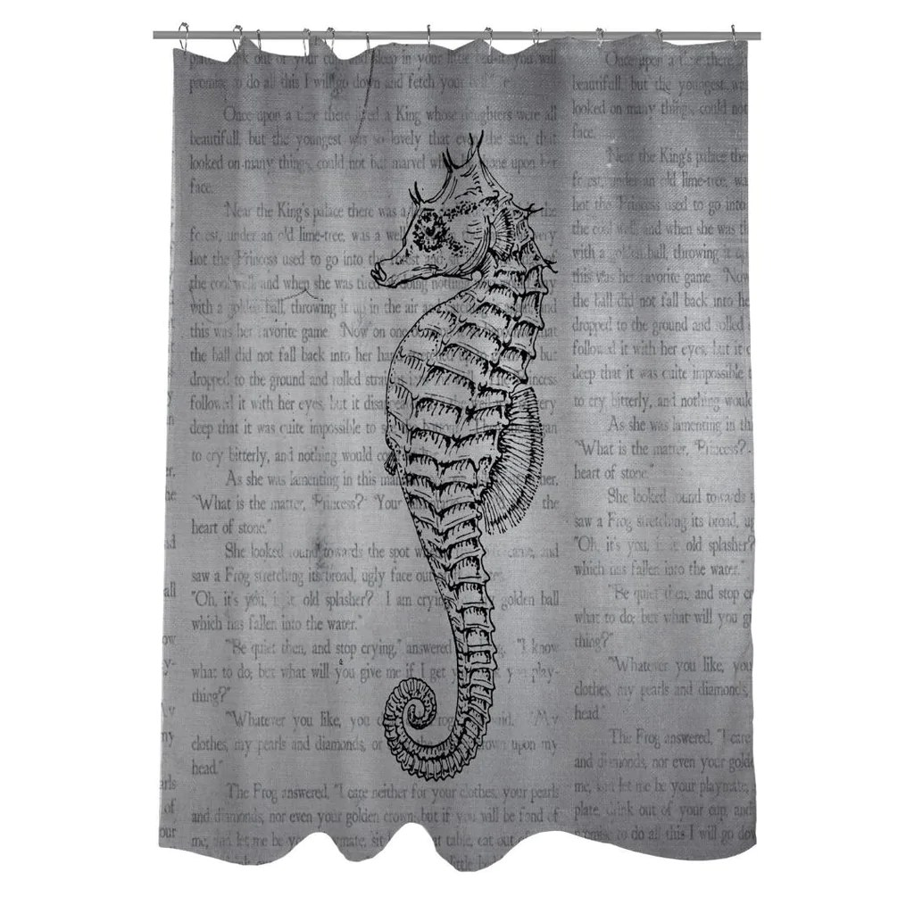 Bathroom Shower Curtain Woven Polyester Bathroom Shower Curtain With Gray Seahorse