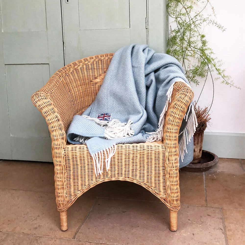 Egg Wicker Chair Duck Egg Herringbone Throw