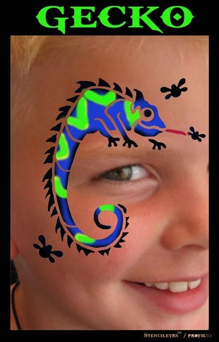 Gecko Face Paint : gecko, paint, Stencil, Profiles, Painting, Gecko, Paint, Store