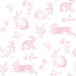 KI0582 Bunny Toile Wallpaper Pink/White US Wall Decor