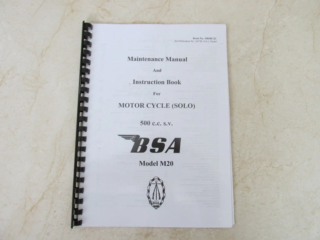 hight resolution of bsa m20 manual wd m20 owners workshop maintenance manual