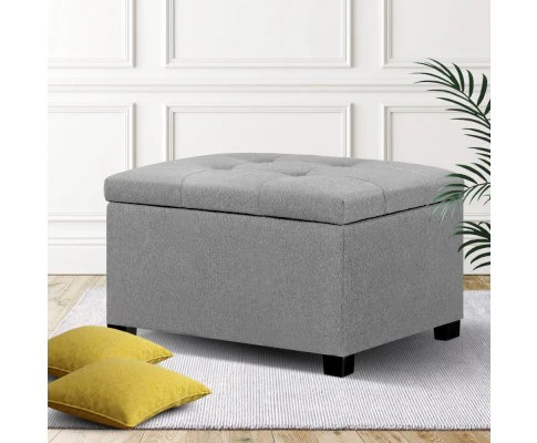 storage ottoman square blanket box linen foot in grey
