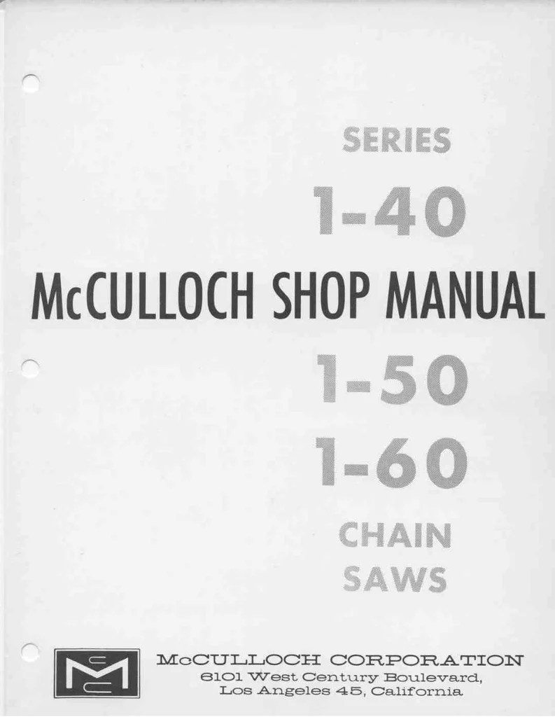 mcculloch vintage chainsaw workshop downloadable pdf service and repair manual [ 793 x 1024 Pixel ]