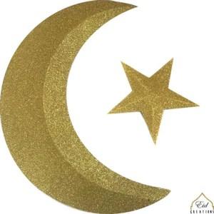 3d glitter gold crescent