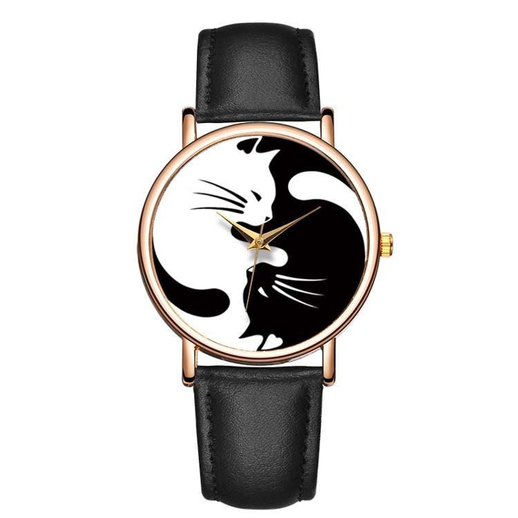 cat yin yang watch