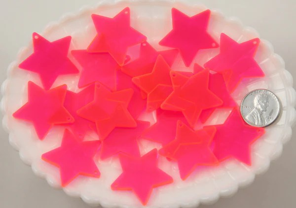30mm bright pink star acrylic