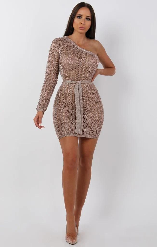 Metallic Knit Rose Gold One Shoulder Mini Dress  Femme Luxe