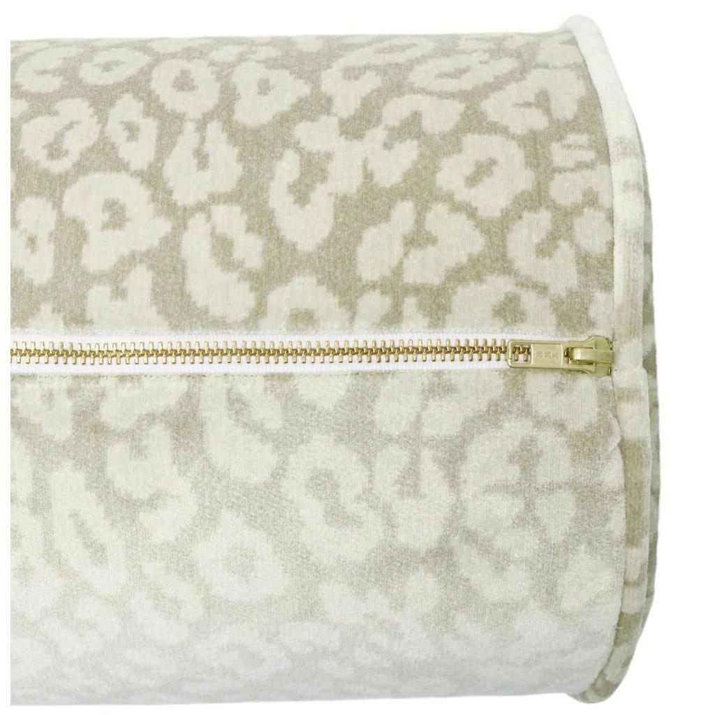 the bolster neutral leopard velvet pillow
