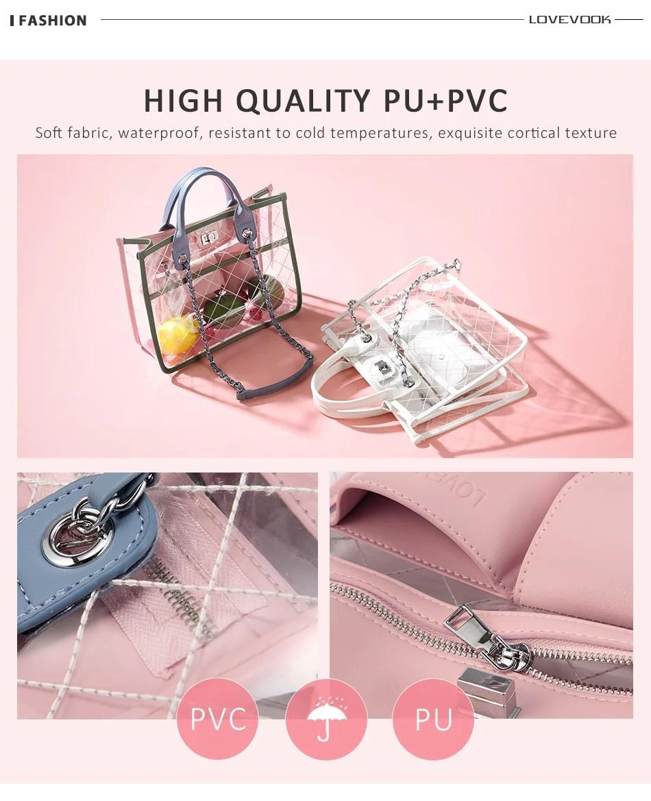 lovevook women clear transparent handbag fashion shoulder bag [ 950 x 1168 Pixel ]