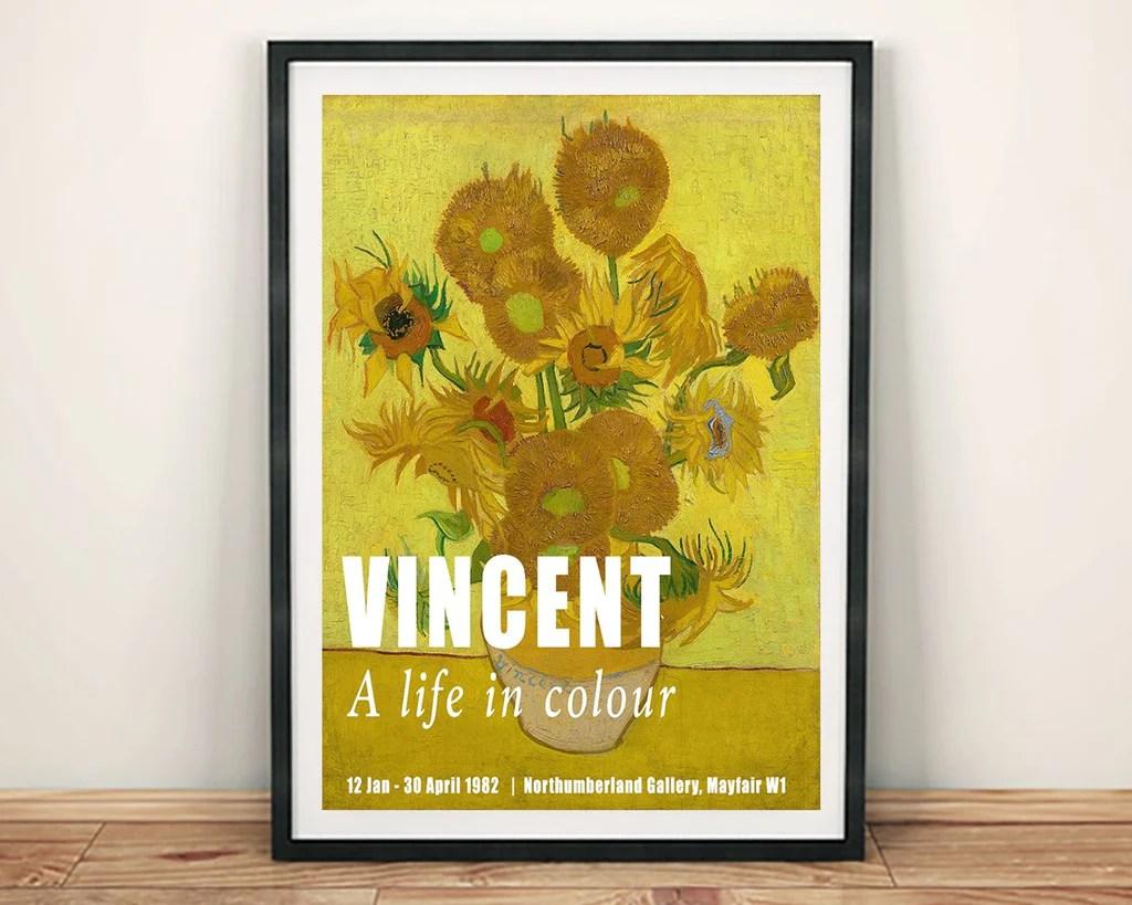 van gogh poster vincent sunflowers gallery exhibition print