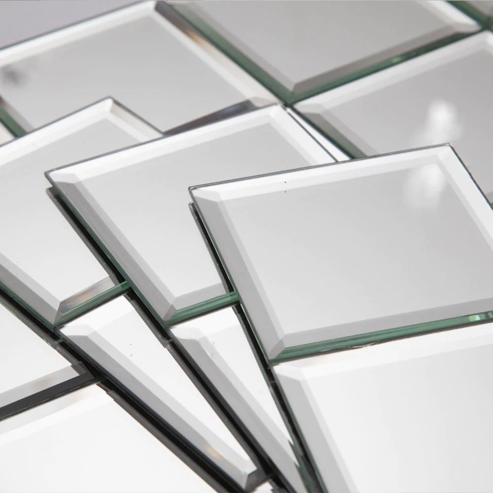 4x4 inch beveled edge mirror glass square tiles pack of 45 pieces