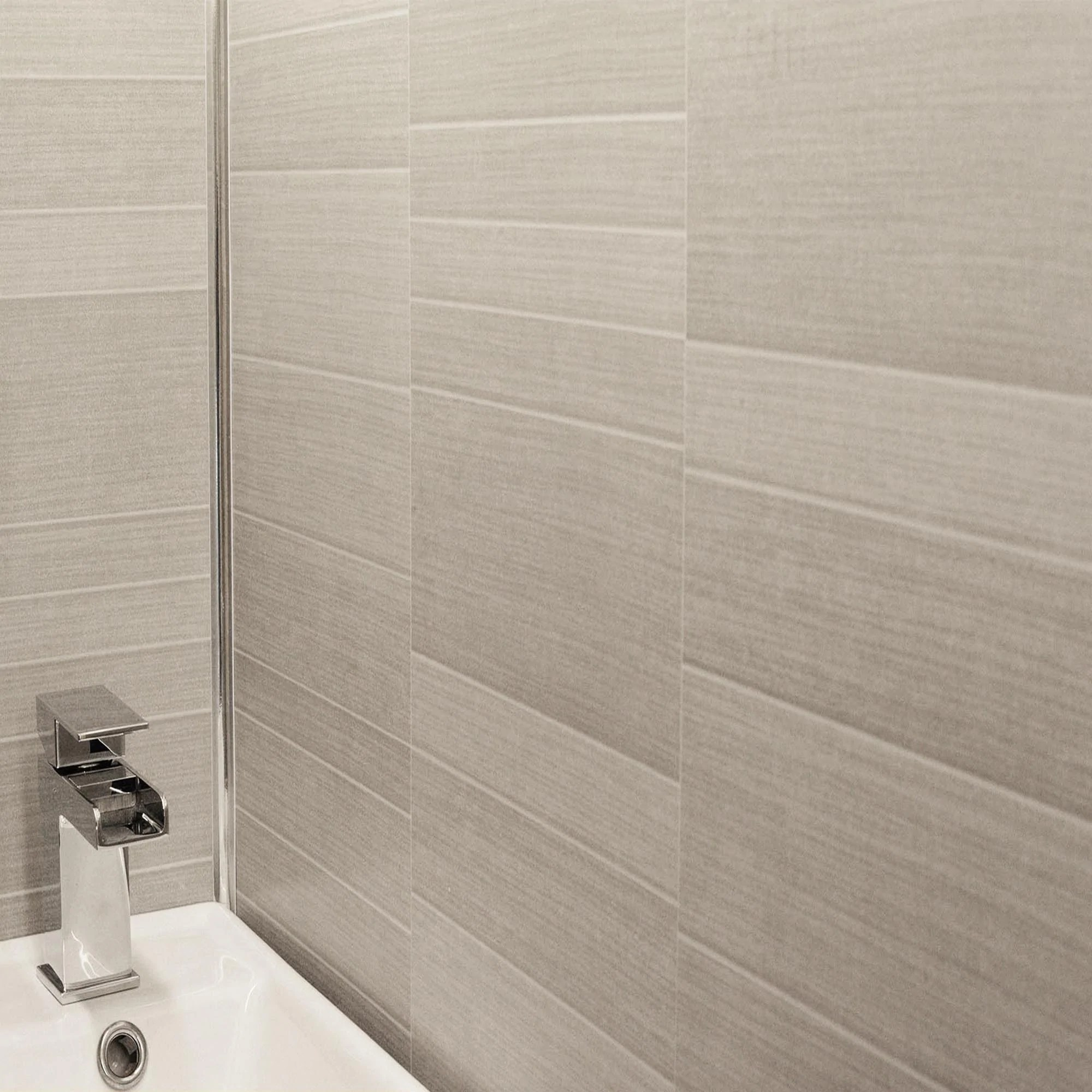 Light Grey Small Tile Effect Bathroom Wall Panels Pvc 5mm Thick Cladding 2 6m X 250mm Claddtech