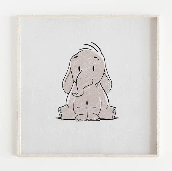 baby elephant nursery art