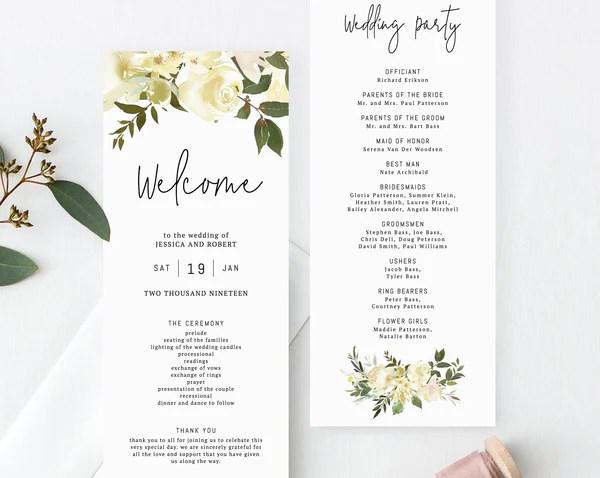 floral wedding program template