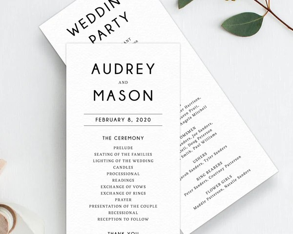 wedding program template printable