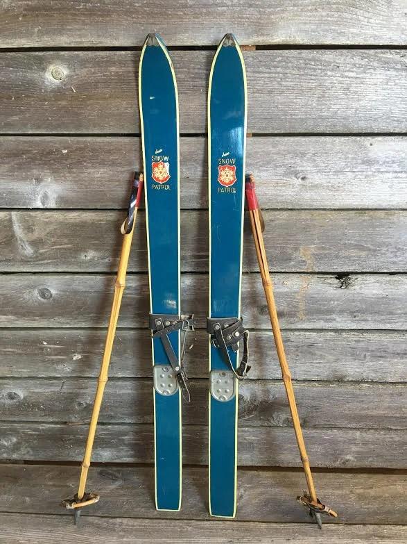 Jr Snow Patrol Ski Set Blue 1960s Includes poles