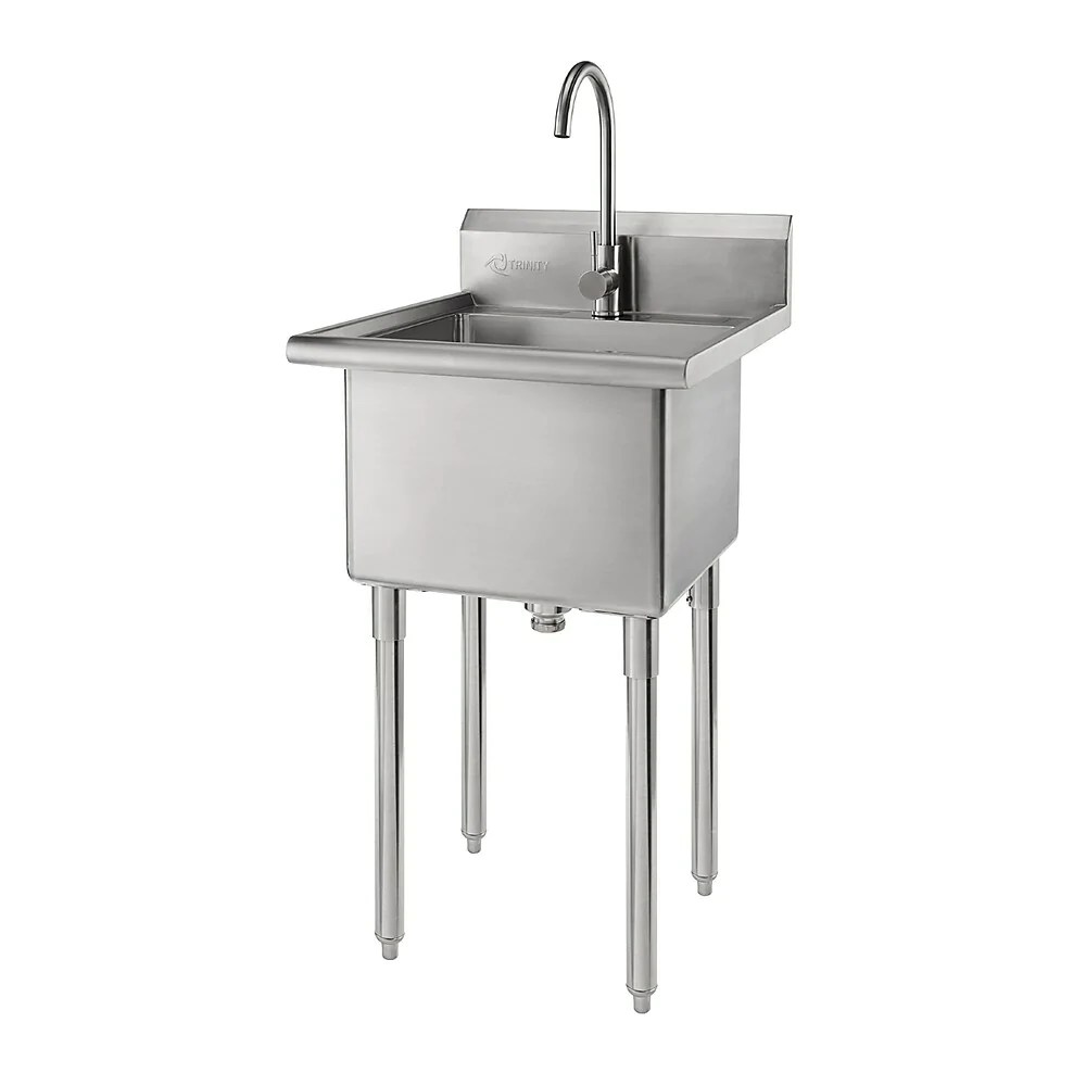 trinity utility sink with faucet stainless steel tha 0303