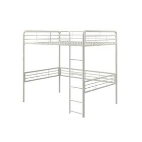 lit mezzanine en metal deux places blanc
