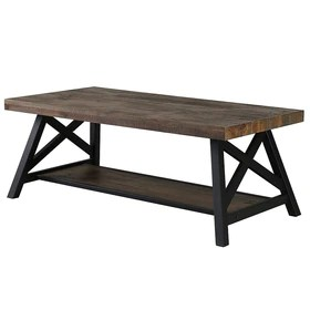 nspire rustic modern 2 tier pine veneer metal coffee table 301 332rk