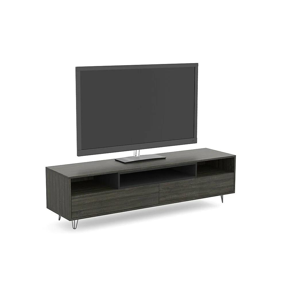 safdie co 81055 z 74 meuble tv avec deux tiroirs lateraux trois etageres 55 pouce bois gris
