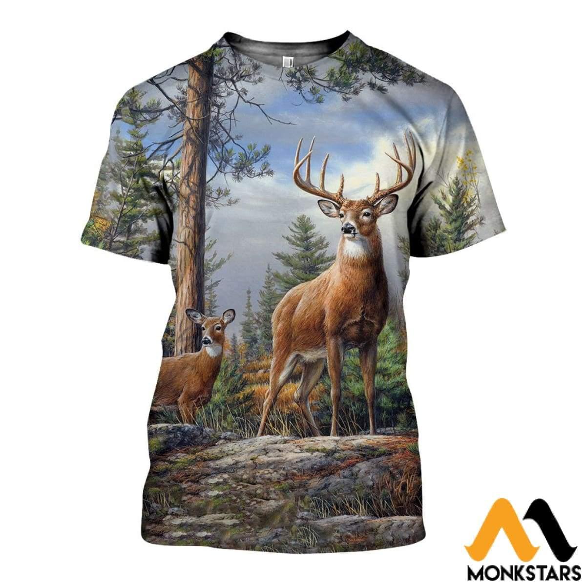 3d Over Printed Deer Art Shirts And Shorts - Monkstars