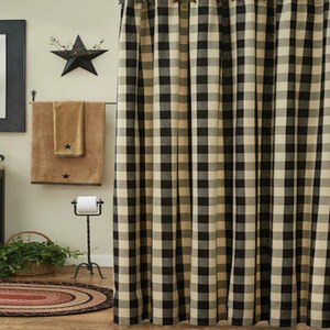 wicklow black and tan buffalo check shower curtain