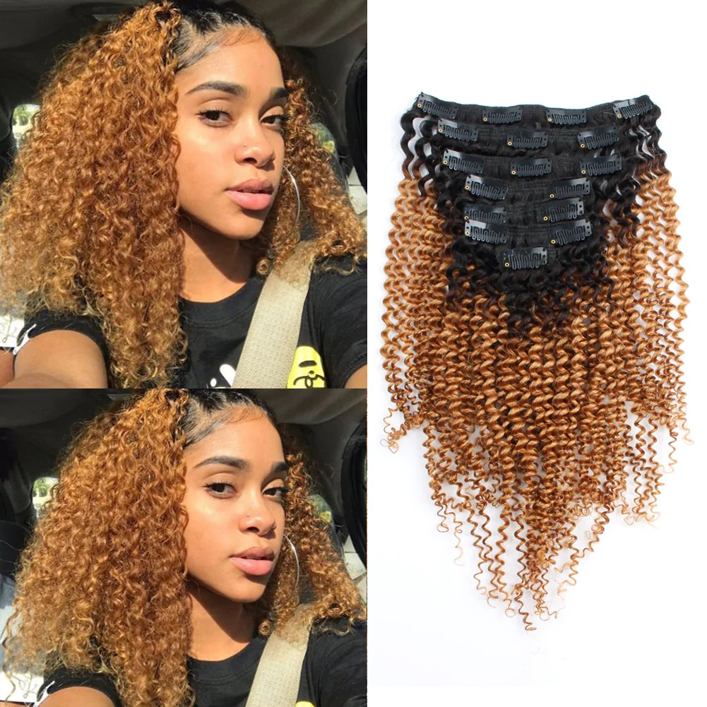 kinky curly clip in hair ombre