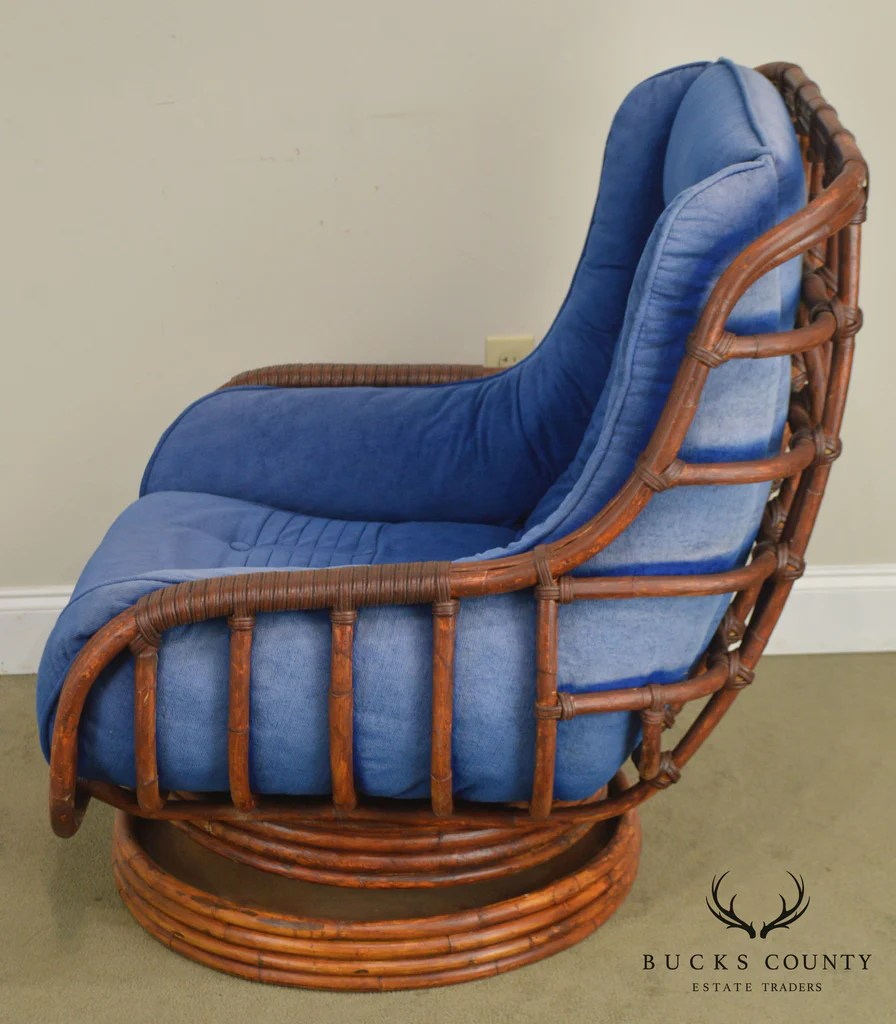 Vintage Rattan Swivel Rocking Lounge Chair With Ottoman