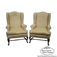 Queen Anne Wing Chair Steelers Custom Pair Of 18th Century Style Chairs Bucks
