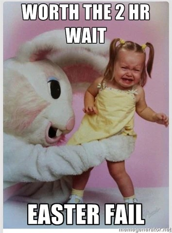 Hoppy Easter Creepy Easter Bunny Pic With Scared Kid Ugly Christmas Sweater Party