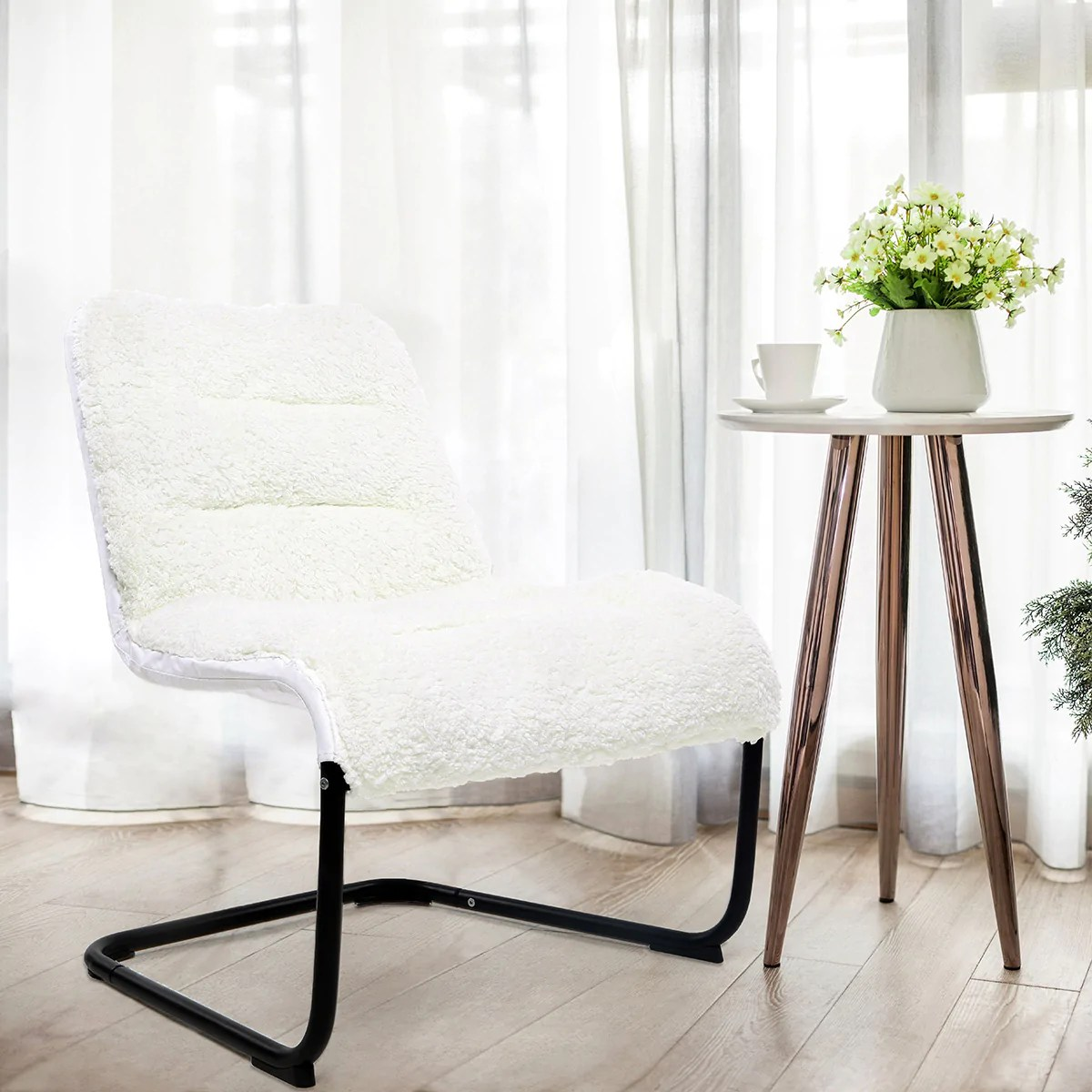 Reading Chairs For Bedroom Zenree Comfortable Padded Reading Chair Bedroom Vanity Lounge White Sherpa