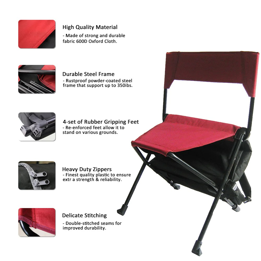 Double Camping Chair Zenree Portable Camping Sports Chair Folding Backpack Chair With Cooler Black Red Combo
