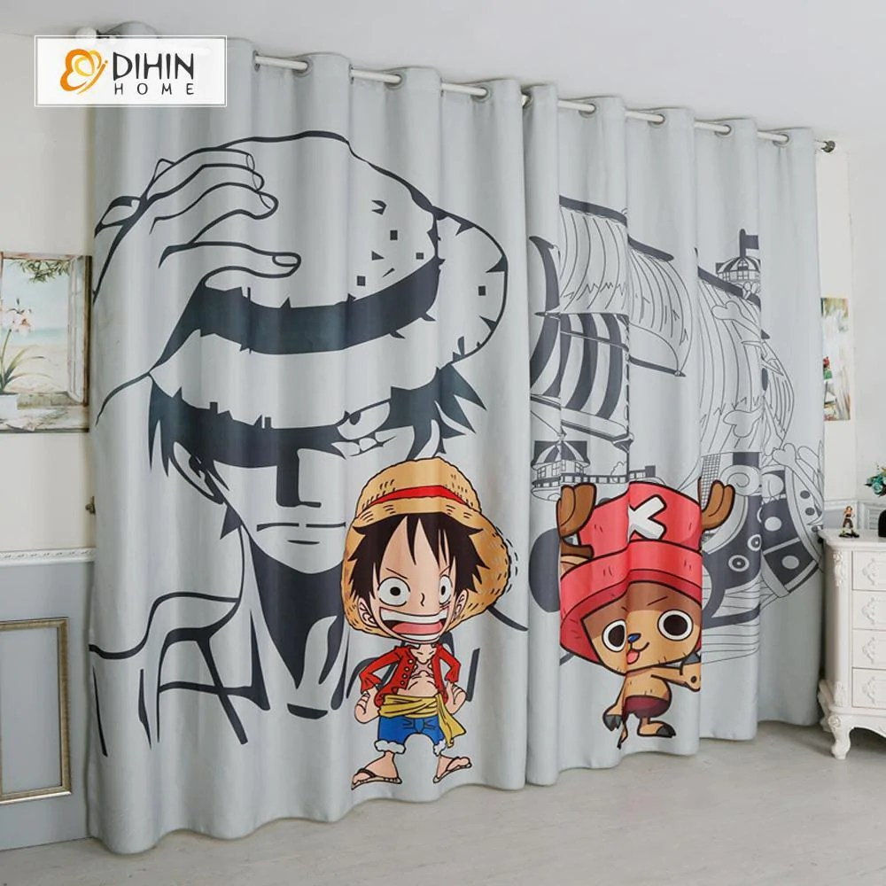dihin home 3d printed one piece luffy blackout curtains window curtains grommet curtain for living room 39x102 inch 2 panels included