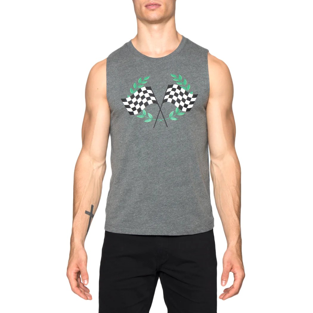 Checkered Flags Screen Print Muscle Tee Parke & Ronen