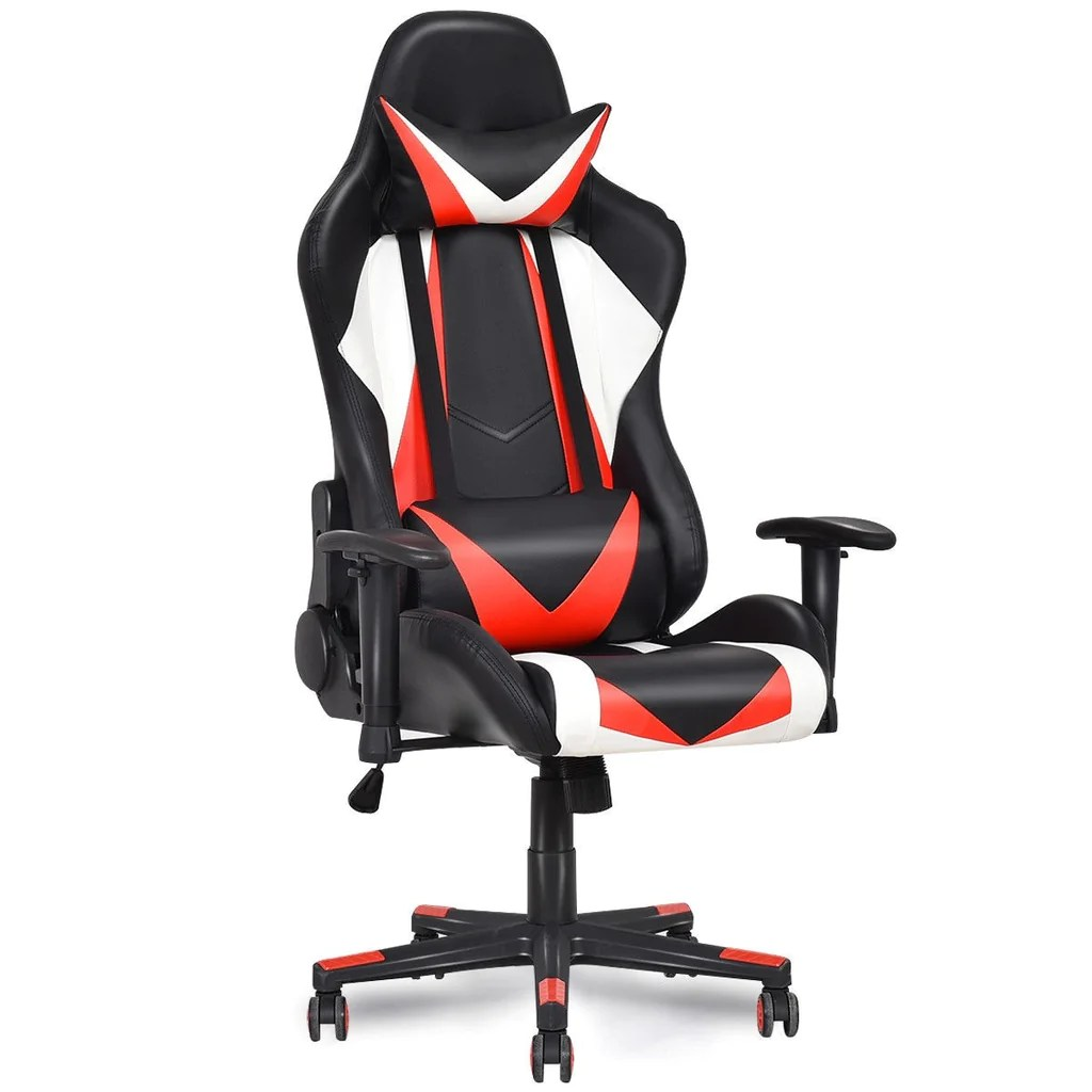 office chair red posture control executive racing style high back gaming black white
