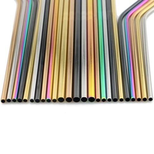 pailles en acier inoxydable 5 couleurs lot de 4